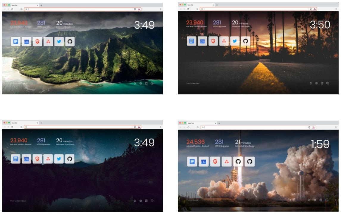 Szponzorált háttérképek a Brave böngészőben